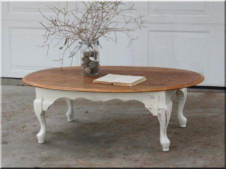 Ovális kávézóasztal, shabby chic bútor
