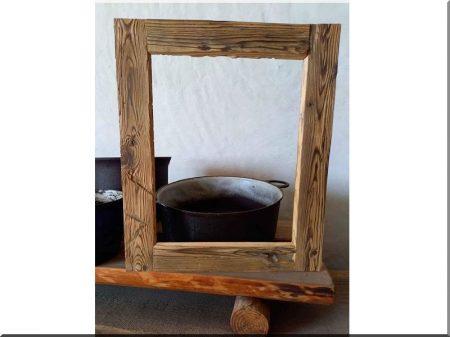 Cadre photo en planches de pin antique