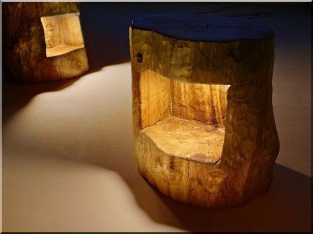 Rustikale Stimmungslampe aus Eichenholz