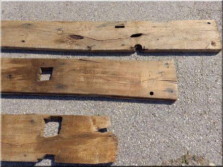 Bed end made of antique oak planks