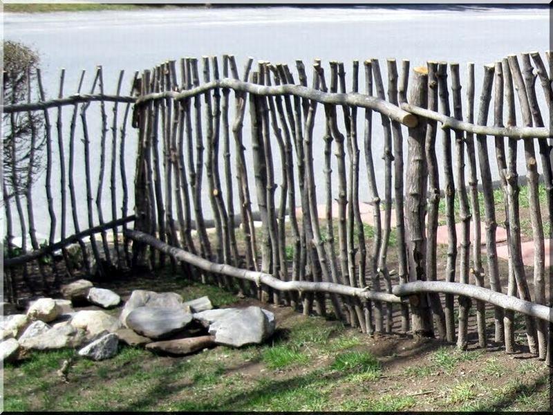 Zweigzaun Einzigartige Holz Zaun Aus Zweigen Flechtzaun Aus