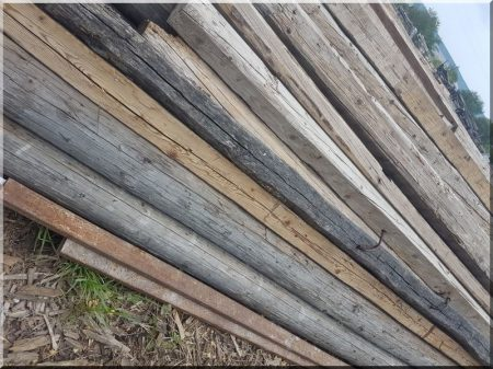 Demolished pine wooden beams