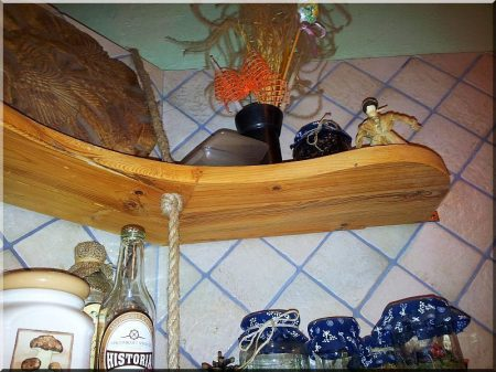 Shelf boards made of antique wood