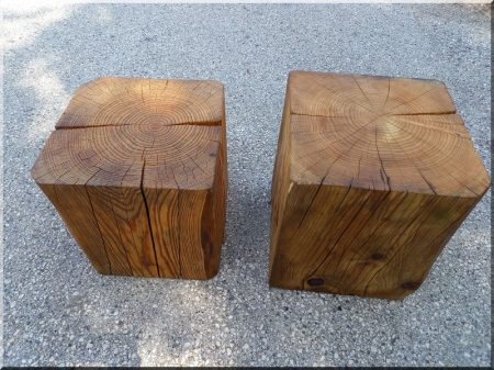 Seat made of wooden beams
