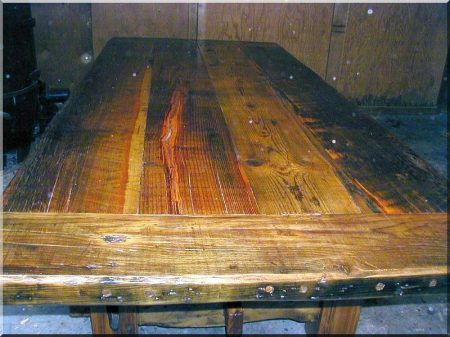 Table top with antique wood