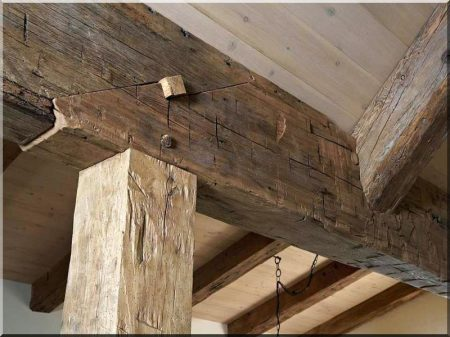 Antique wood with covered surface