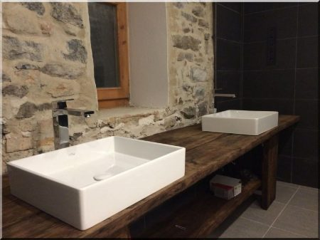 Bathroom counter in antique oak wood