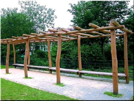 Pavilion, pergola polished acacia poles