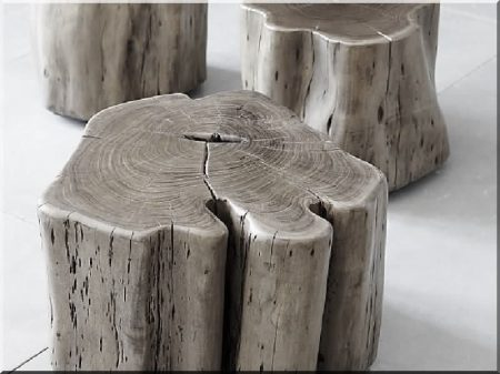 Log seat, wabi sabi