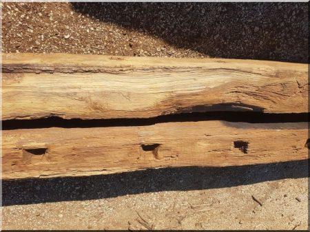 Disassembled, cleaned oak beam