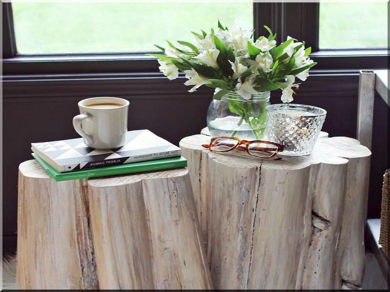 Rönk asztal, kávézóasztal, rusztikus bútor, rönkbútor