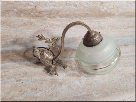Nagy méretű bronz, üveg falikar -