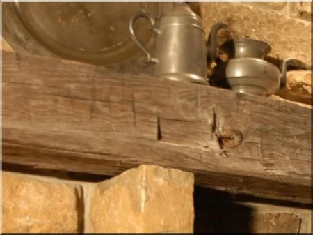 Shelf made of antique wooden beams