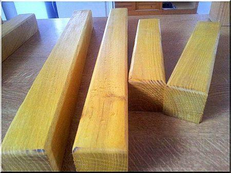 Planed acacia stakes