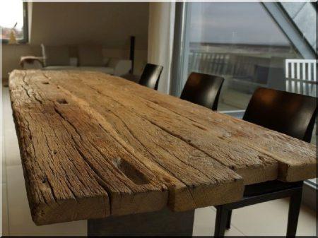 Plateau de table en planches anciennes