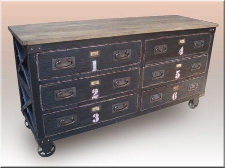 Loft bútor, fiókos szekrény -