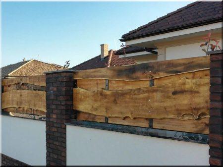 Elément de clôture d-acacia avec du bord, large