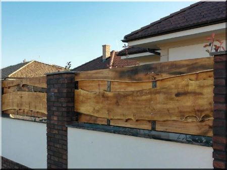 Wide acacia fence element with edges