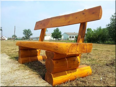 Rustic log furniture from locust with back-rest