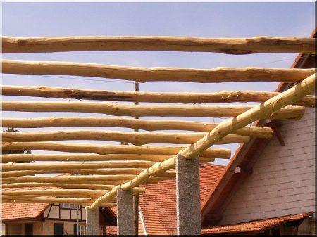 Entrindeter Robinienpfahl, 3 meter lang