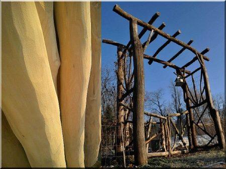 Pergola de troncs poncés d-acacia