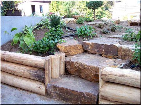 Debarked acacia log for retaining walls