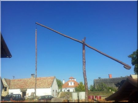 Kérgezett, csiszolt akác oszlop, 7 méteres