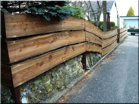 Fence element from plank Borov with bords, 16 - 20 cm