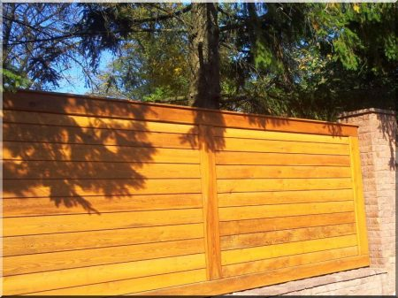 Closed fence from pine