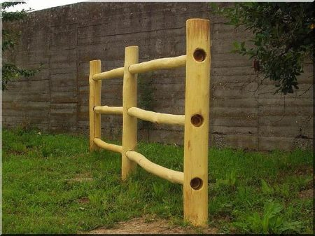 Fence pole from debarked and sanded acacia