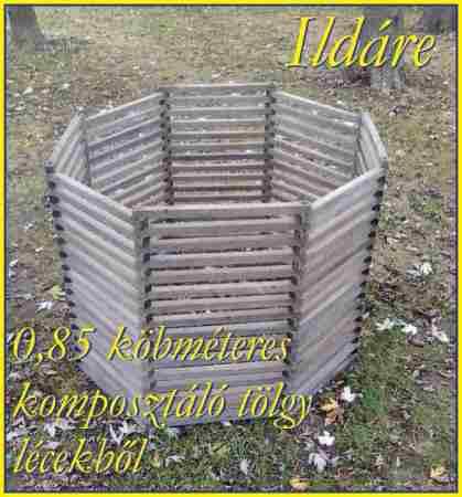 Komposztáló, 1,2 köbméteres, tölgy lécekből -