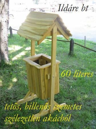 Tetős, billenős akác szemetes 60 literes -