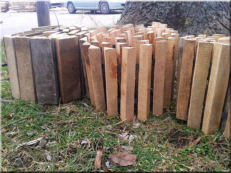 Kerti szegély tölgy fából, 25 cm; 30 cm magas -