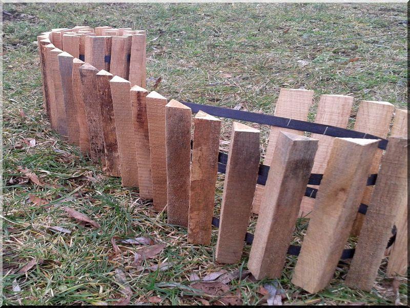 Kerti szegély tölgy fából, 20 cm magas -