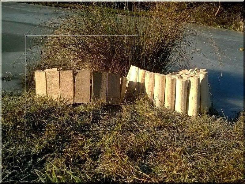 3 cm vastag tölgy deszkából, lécekből készült kerti szegély